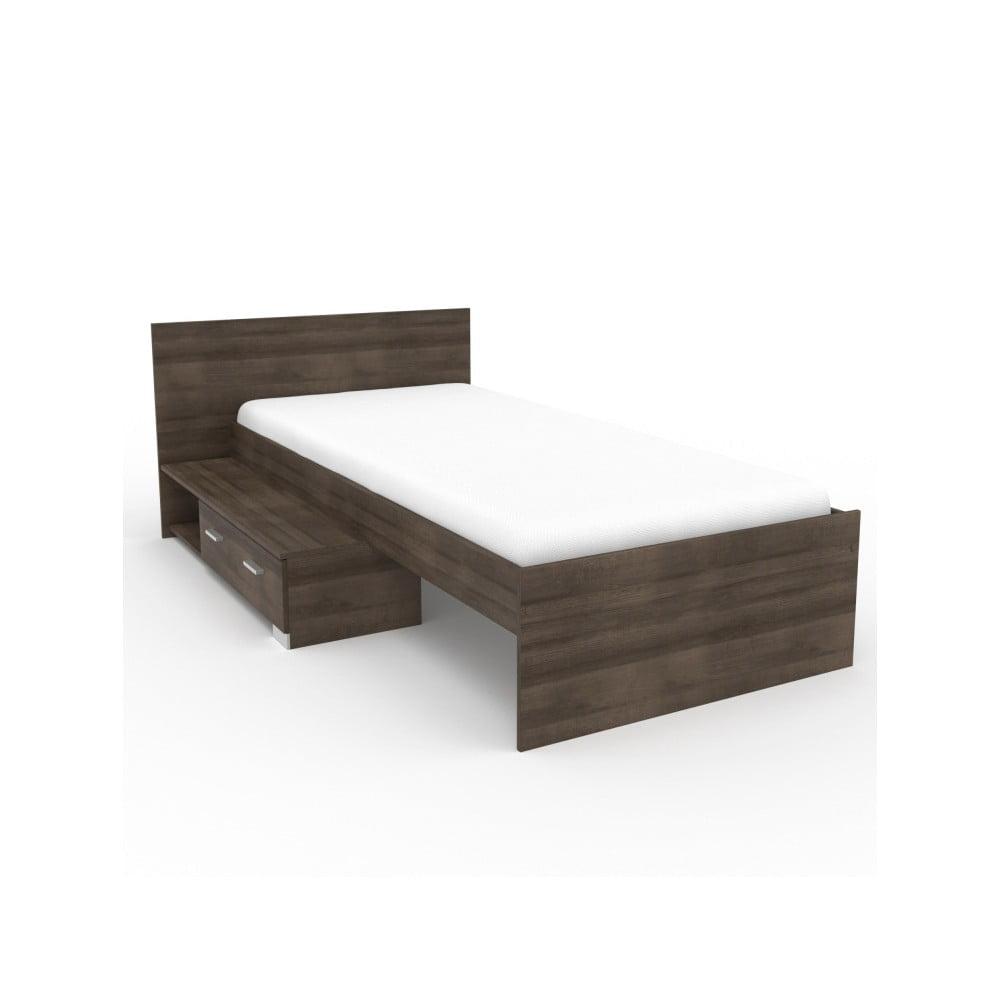 Jednolůžková postel v dekoru ořechového dřeva Parisot Alix, 90x200cm
