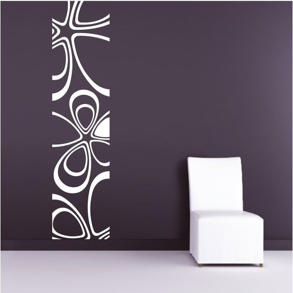 Samolepka na stěnu Floral Pruh, bílá