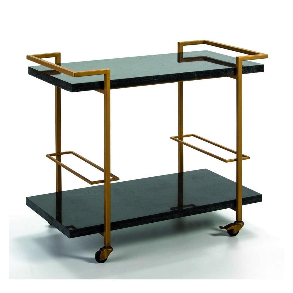 Pojízdný servírovací stolek ve zlaté barvě s žulovou deskou Thai Natura