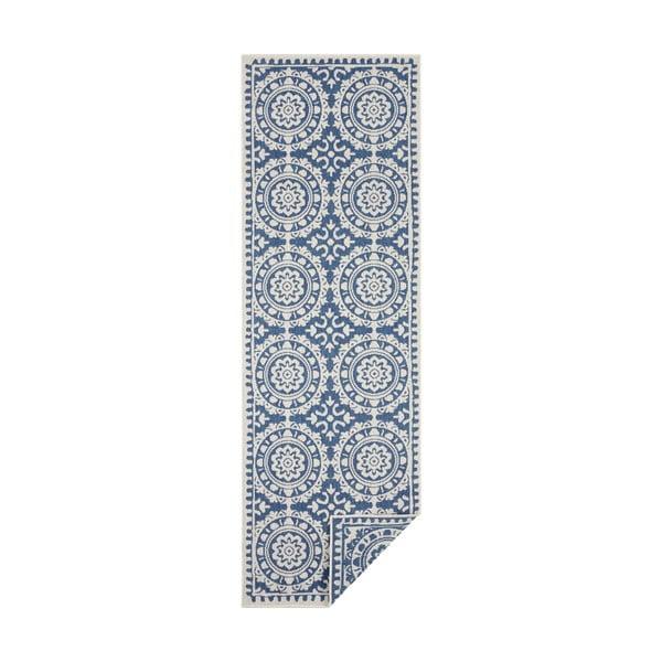 Covor adecvat pentru exterior Bougari Jardin, 80 x 350 cm, albastru-crem