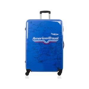 Modrý cestovní kufr na kolečkách American Travel, 75 l