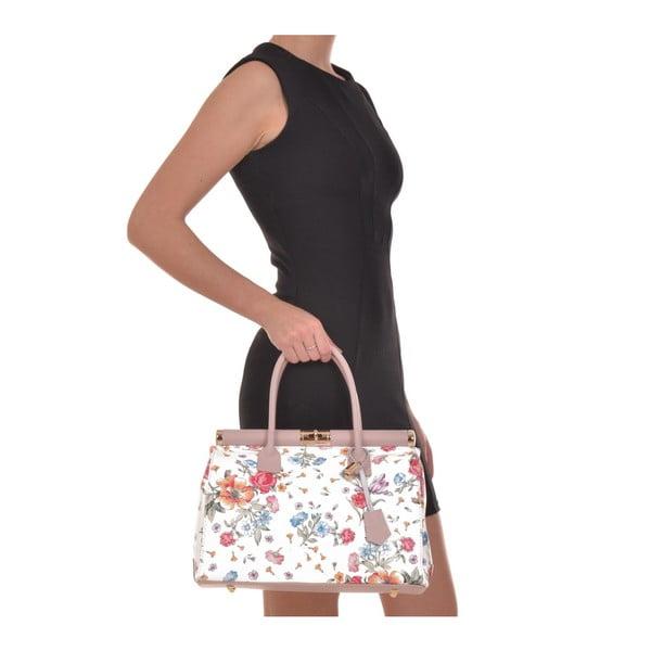 Bílá kožená kabelka s květinovým motivem Renata Corsi Selena