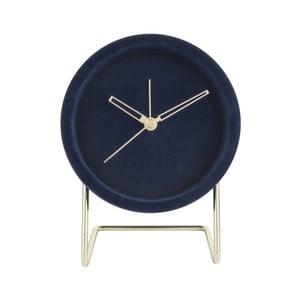 Tmavě modré stolní hodiny se sametem Karlsson Lush