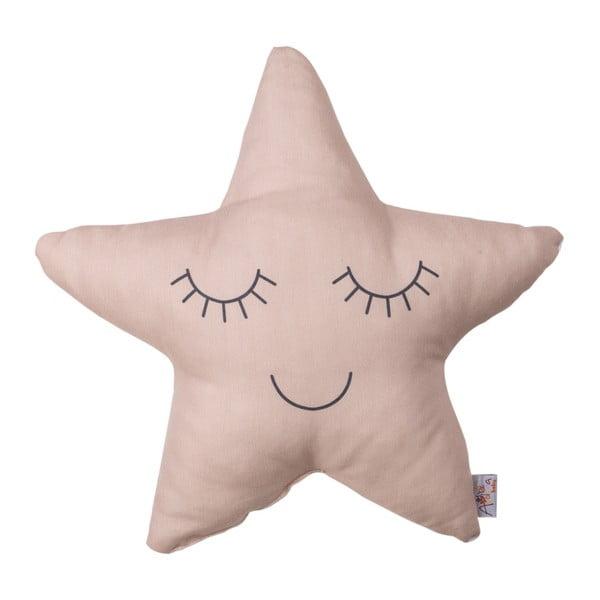 Pernă din amestec de bumbac pentru copii Apolena Pillow Toy Star, 35 x 35 cm, bej roz