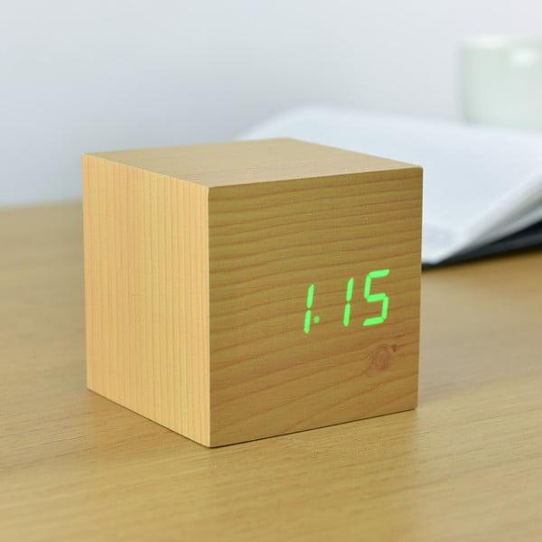 Světle hnědý budík se zeleným LED displejem Gingko Cube Click Clock