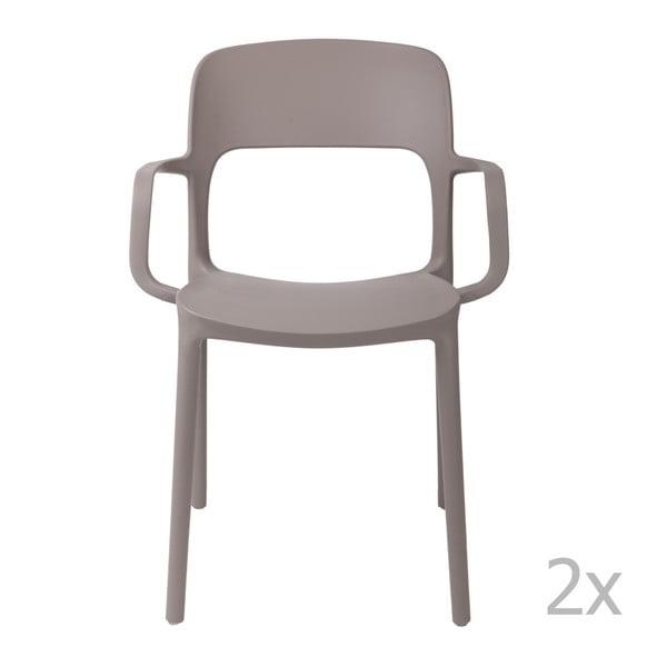 Sada 2 šedých židlí s opěrkami  D2 Flexi