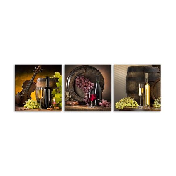 Sada 3 obrazů Styler Glasspik Set Wines