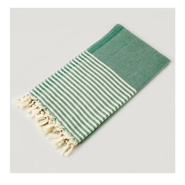Hammam osuška Marine Style Green & White, 100x180 cm