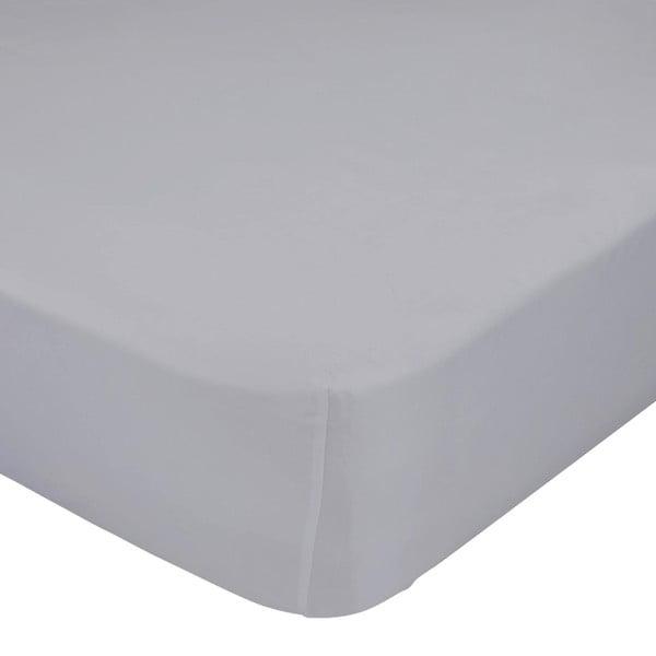 Šedé elastické prostěradlo z čisté bavlny , 70 x 140 cm