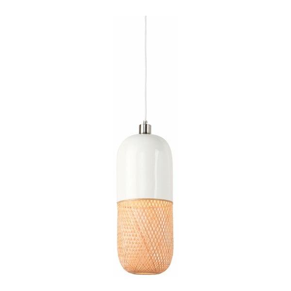 Bielo-hnedé bambusové dvojité závesné svietidlo Good&Mojo Mekong, priemer 20 cm