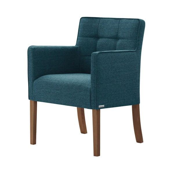 Tyrkysová židle s tmavě hnědými nohami z bukového dřeva Ted Lapidus Maison Freesia