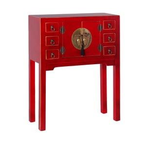 Červený konzolový stolek se 6 zásuvkami Ixia East