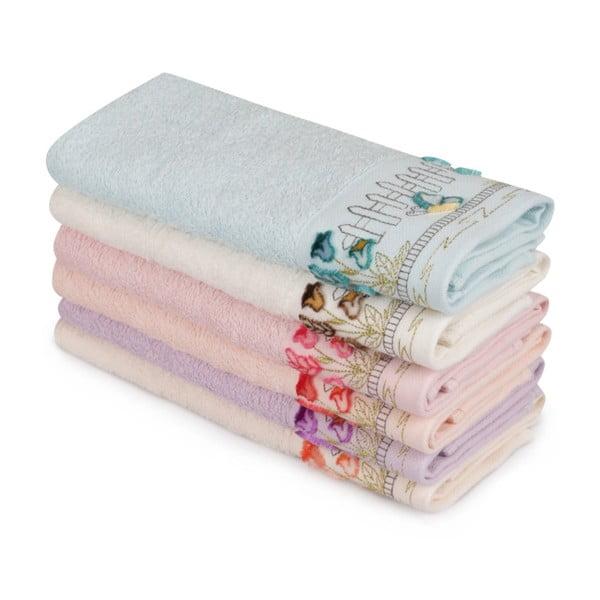 Sada 6 barevných ručníků z čisté bavlny Florals, 30 x 50 cm
