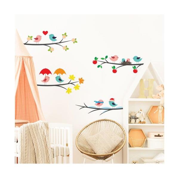 Set autocolante de perete pentru camera copiilor Ambiance Tree Branches in the Seasons