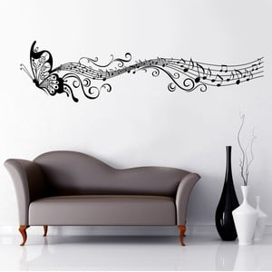 Samolepka na stěnu Motýl a noty, 60x90 cm