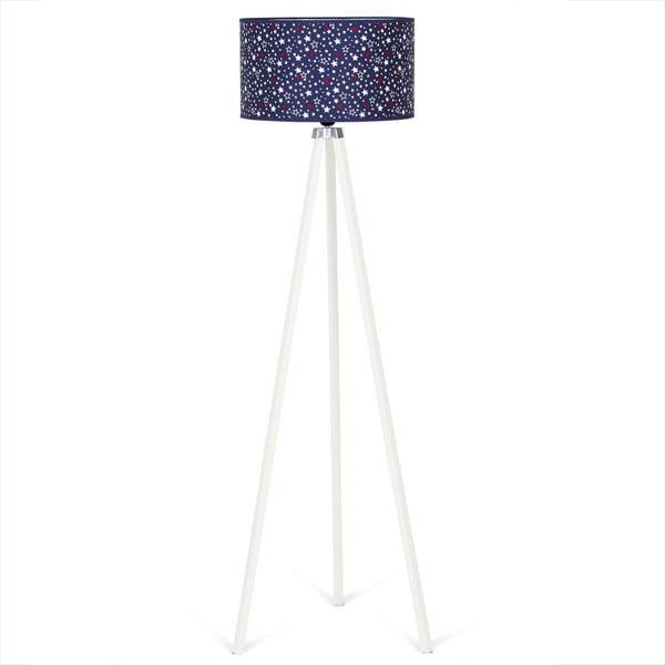 Bílá volně stojící lampa s tmavě modrým stínítkem Kate Louise Beyaz Carro