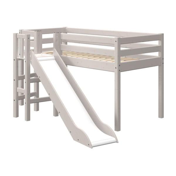 Sivá detská posteľ z borovicového dreva so šmýkačkou Flexa Classic Slide, výška 120 cm