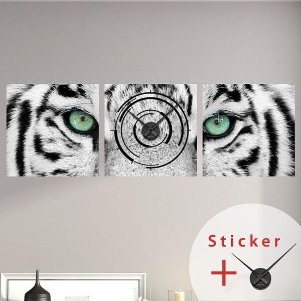 Samolepící hodiny White Tiger, 40x120 cm