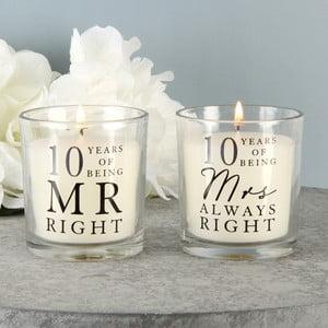 Sada 2 svíček s vůní bavlny k 10. výročí Amore Mr. Right and Mrs. Always Right, 18hodinhoření