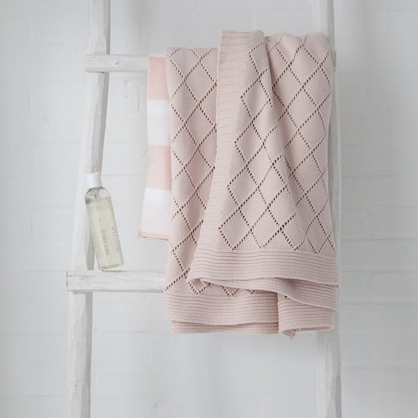 Pled roz-pudră Madeleine, 130x170 cm