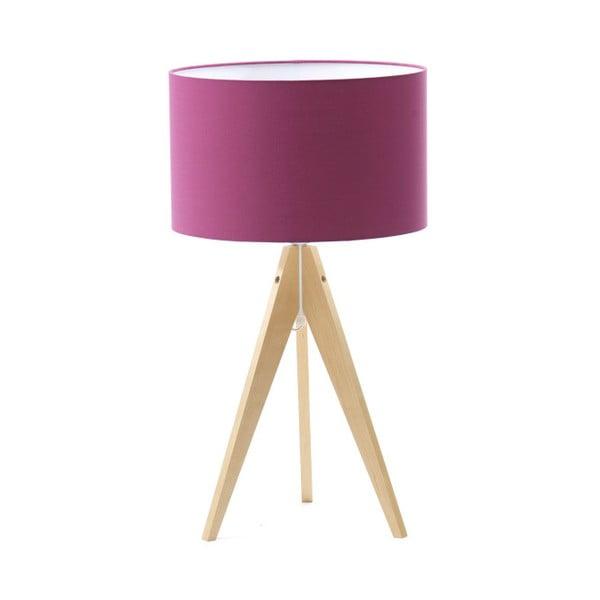Fialová stolní lampa Artist, bříza, Ø 33 cm
