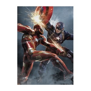 Nástěnná cedule Civil War Divided We Fall - Cap vs Iron Man