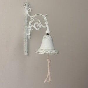 Bílý nástěnný litinový zvonek Dakls
