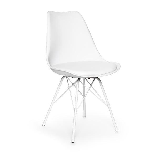 Sada 2 bielych stoličiek s bielym podnožím z kovu loomi.design Eco