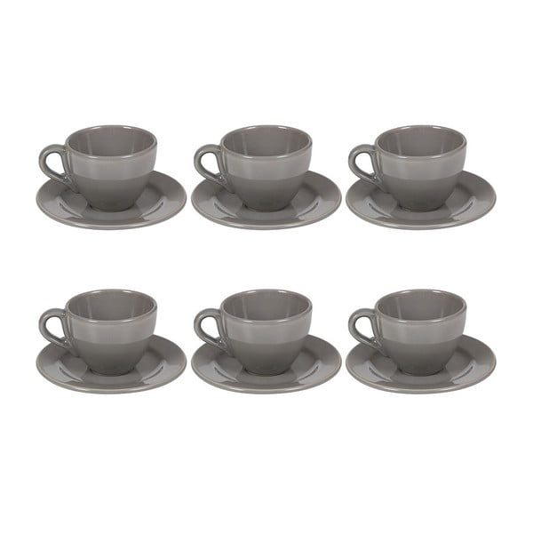 Set 6 cești din ceramică cu farfurioară Santiago Pons Saucers, gri