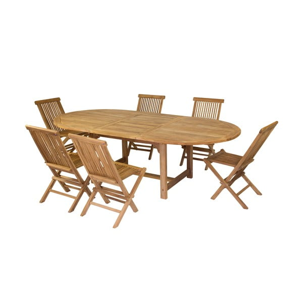 Zestaw 6 krzeseł i stołu z drewna tekowego Santiago Pons