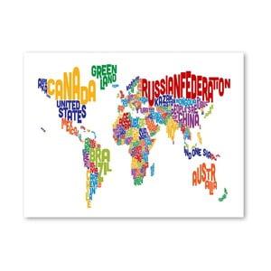 Plakát s pestrobarevnou mapou světa Americanflat Text, 60x42cm