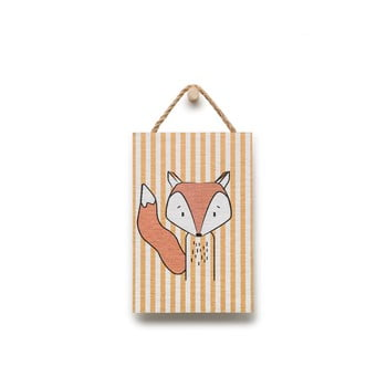 Tablou din lemn KICOTI Fox, 20 x 30 cm, multicolor de la KICOTI