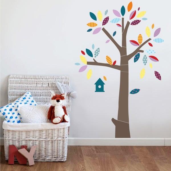 Samolepka Strom s barevnými lístky, 70x50 cm
