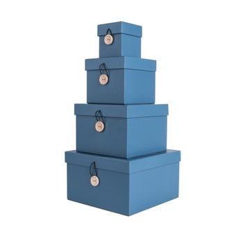 Set 4 cutii de depozitare PT LIVING Uniform, albastru imagine