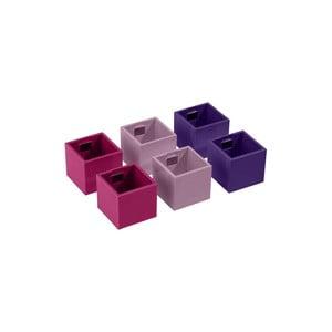 Sada 6 ks malých magnetických květináčů CUBE, fialová