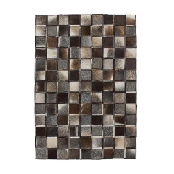 Šedo-hnědý kožený koberec Eclipse, 80x150cm