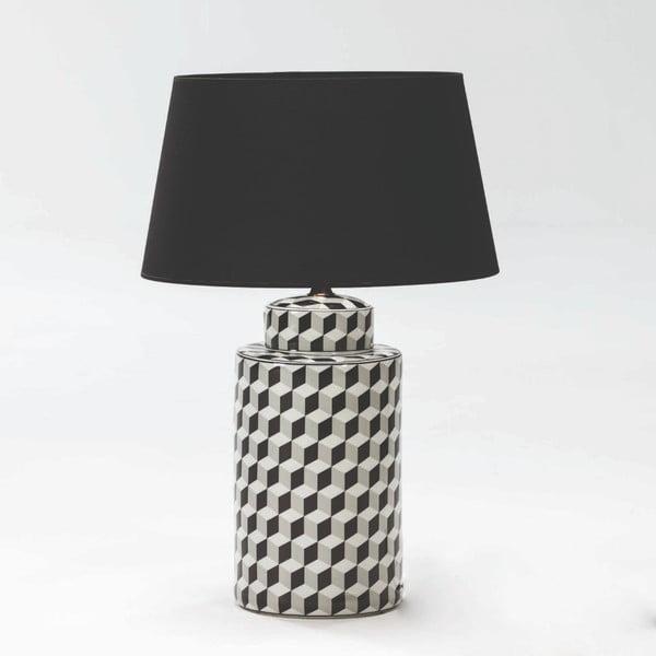 Veioză din ceramică fără abajur Thai Natura, înălțime 51cm, alb-negru