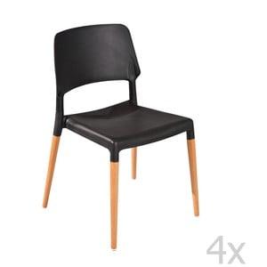 Sada 4 černých jídelních židlí 13Casa Molde