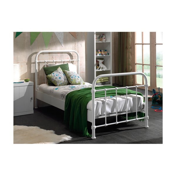 Bílá kovová dětská postel Vipack New York, 90x200cm
