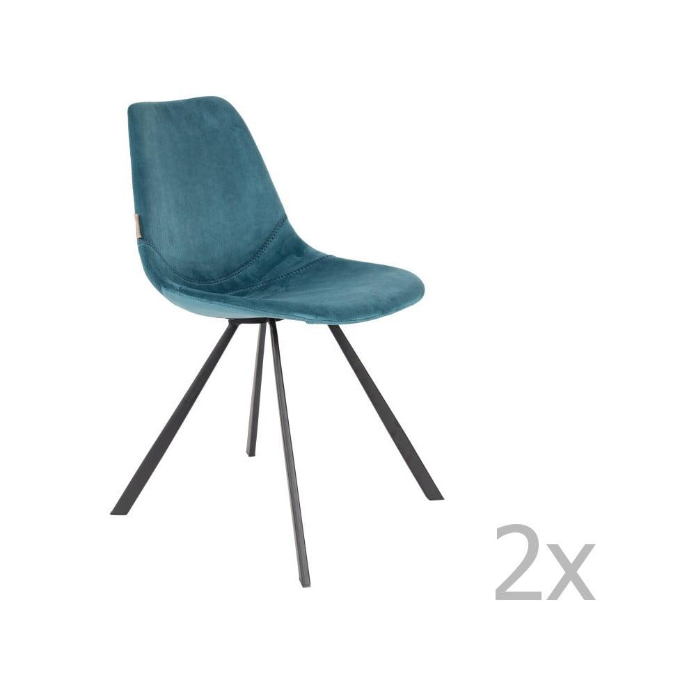 Sada 2 petrolejově modrých židlí se sametovým potahem Dutchbone Franky