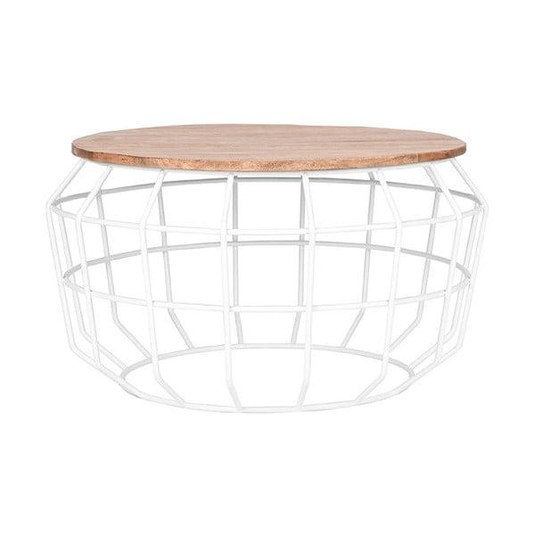 Bílý odkládací stolek sdeskou zmangového dřeva LABEL51 Pixel, ⌀70cm