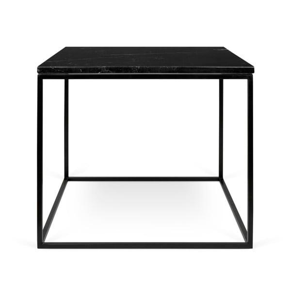 Gleam fekete márvány dohányzóasztal fekete lábakkal, 50 x 50 cm - TemaHome