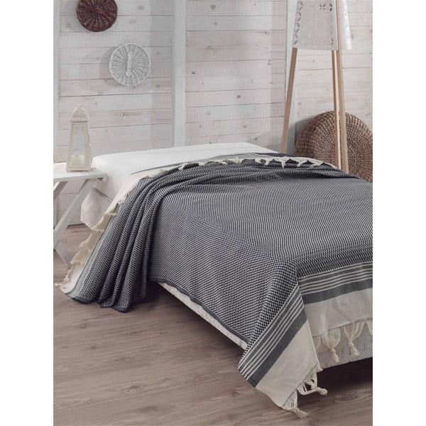 Přehoz přes postel Hasir Dark Blue, 200x240 cm