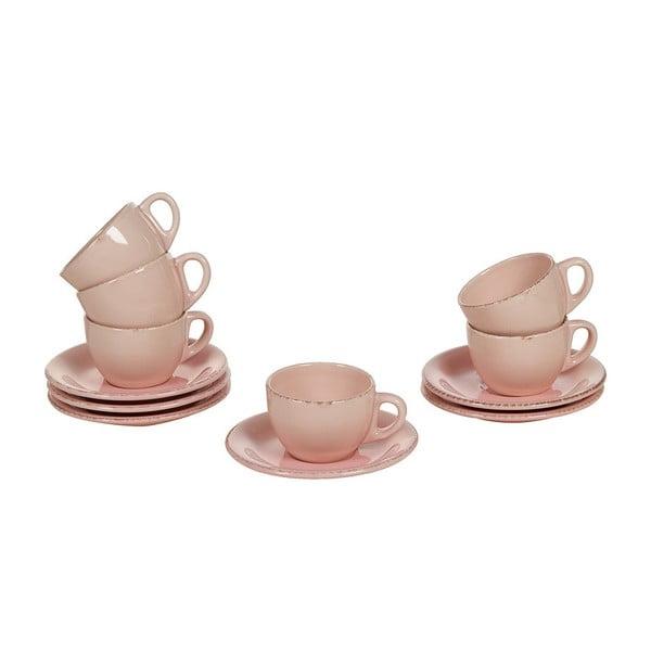 Set 6 cești cu farfurie din ceramică Santiago Pons, roz