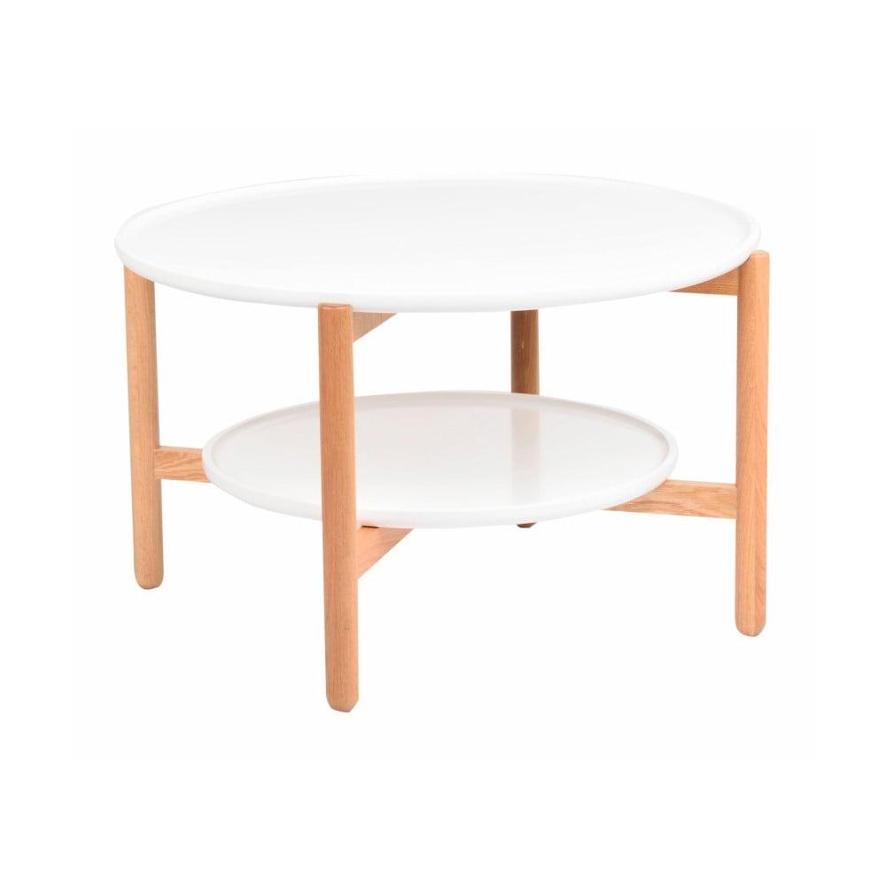 Bílý dubový stolek Folke Wendigo, ⌀ 80 cm