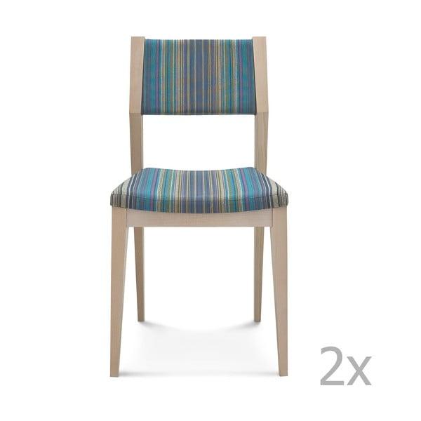 Sada 2 modrých dřevěných židlí Fameg Karen