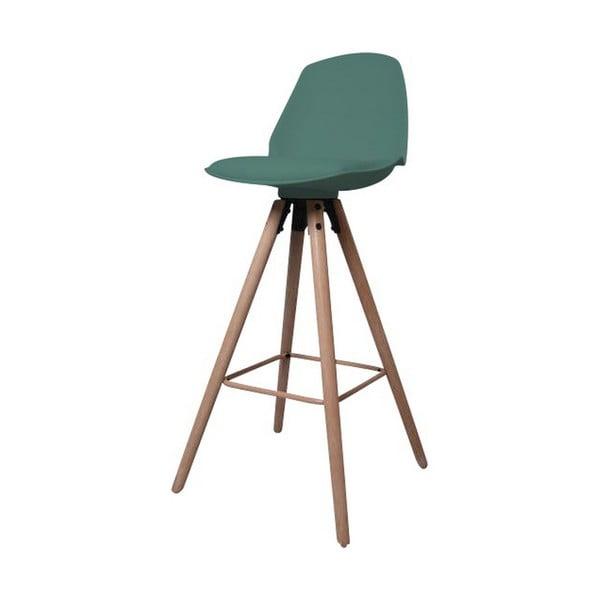 Zelená barová židle s podnožím z dubového dřeva Actona Oslo
