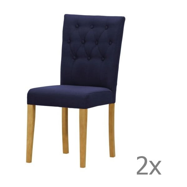 Sada 2 židlí Monako Etna Dark Blue, přírodní nohy