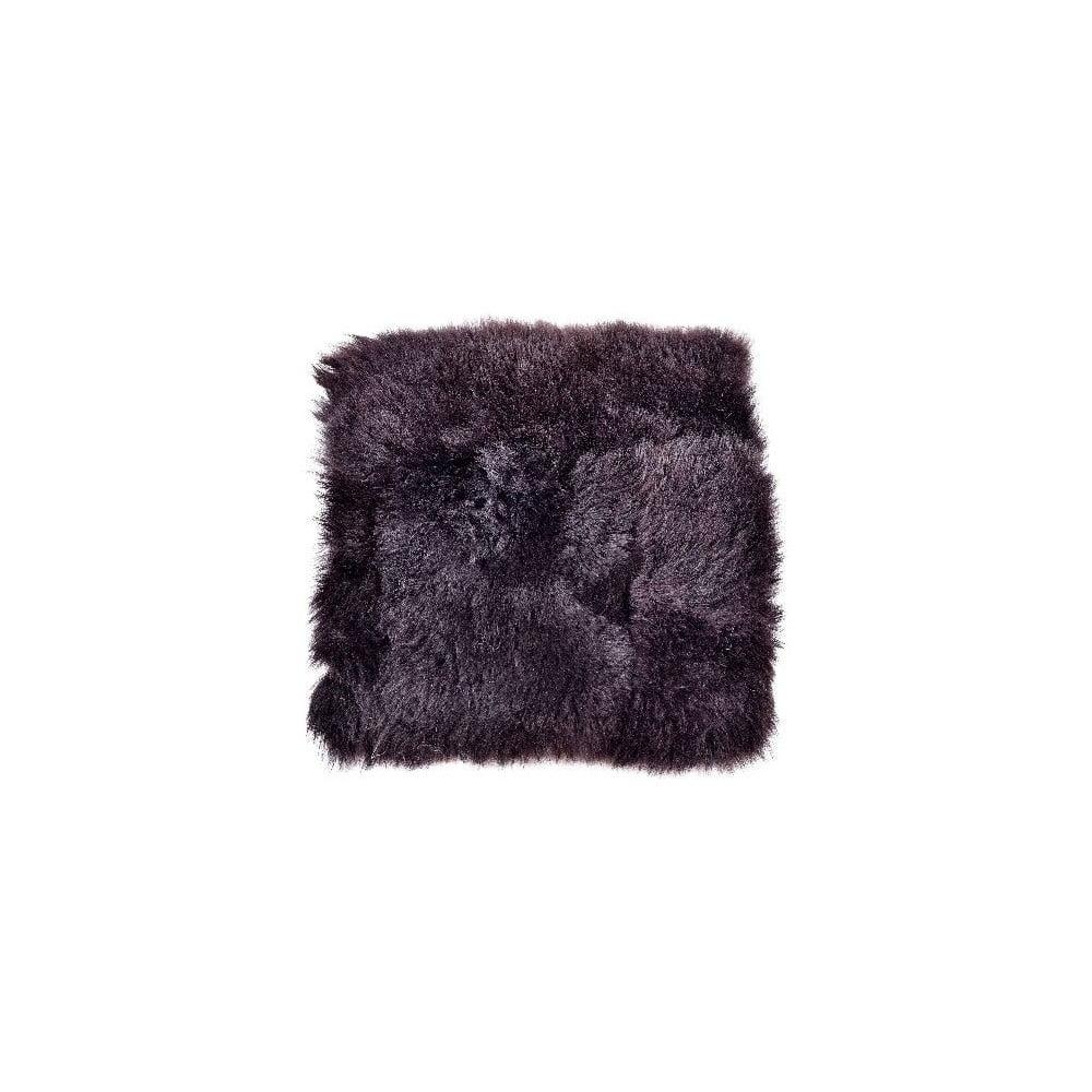 Kožešinový podsedák s krátkým chlupem Blacky, 37x37 cm