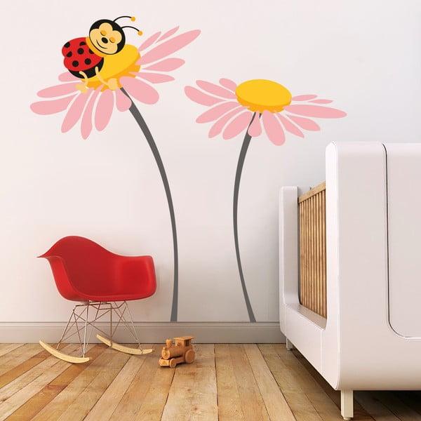 Samolepka na stěnu Beruška na květu, růžová - 2 archy, 70x50 cm